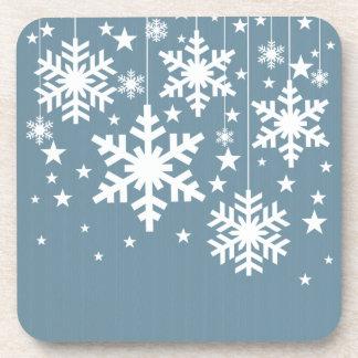 Snowflakes and Stars Coaster Set, Blue