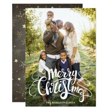 Christmas Themed Snowflakes and Stars Full Photo Christmas Card