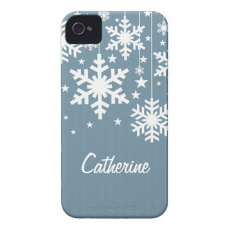 Snowflakes and Stars iPhone 4 BT Case, Blue iPhone 4 Case-Mate Case