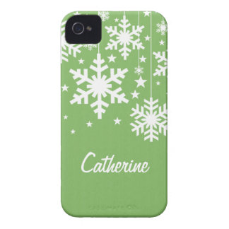 Snowflakes and Stars iPhone 4 BT Case, Green iPhone 4 Case