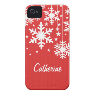 Snowflakes and Stars iPhone 4 BT Case, Red Case-Mate iPhone 4 Case