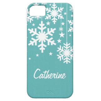 Snowflakes and Stars iPhone 5 BT Case, Aqua iPhone SE/5/5s Case