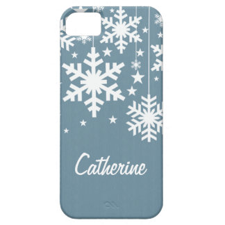 Snowflakes and Stars iPhone 5 BT Case, Blue iPhone SE/5/5s Case