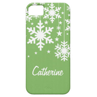 Snowflakes and Stars iPhone 5 BT Case, Green iPhone SE/5/5s Case