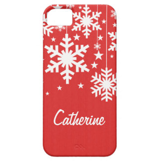 Snowflakes and Stars iPhone 5 BT Case, Red iPhone SE/5/5s Case