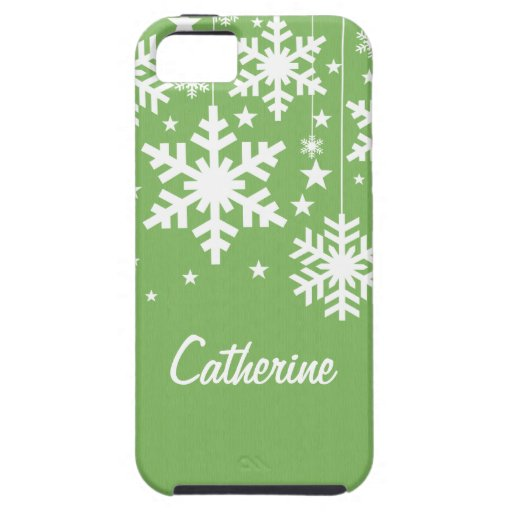 Snowflakes and Stars iPhone 5 Vibe Case, Green iPhone 5 Covers