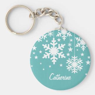 Snowflakes and Stars Keychain, Aqua Basic Round Button Keychain