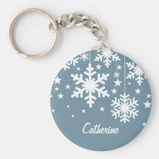 Snowflakes and Stars Keychain, Blue Basic Round Button Keychain