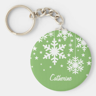 Snowflakes and Stars Keychain, Green Basic Round Button Keychain