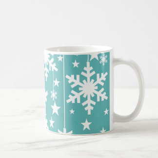 Snowflakes and Stars Mug, Aqua