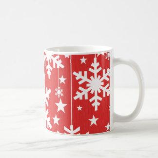 Snowflakes and Stars Mug, Red Coffee Mug