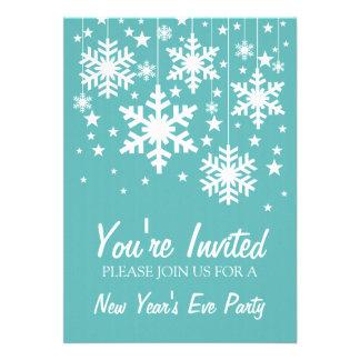 Snowflakes and Stars New Year s Invite Aqua