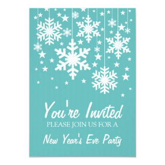 "Snowflakes and Stars New Year's Invite, Aqua 5"" X 7"" Invitation Card"