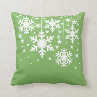 Snowflakes and Stars Pillow, Green Throw Pillow