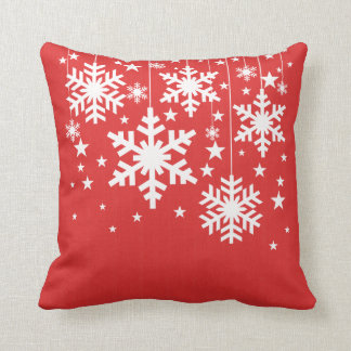 Snowflakes and Stars Pillow, Red Throw Pillow