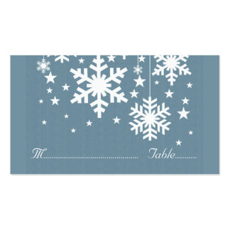 Snowflakes and Stars Place Card, Blue Double-Sided Standard Business Cards (Pack Of 100)