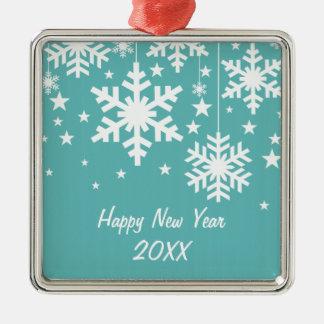 Snowflakes and Stars Premium Ornament, Aqua