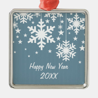 Snowflakes and Stars Premium Ornament, Blue Metal Ornament