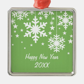 Snowflakes and Stars Premium Ornament, Green Metal Ornament