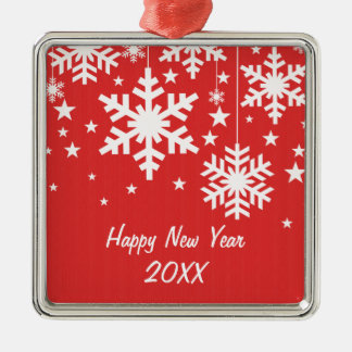 Snowflakes and Stars Premium Ornament, Red