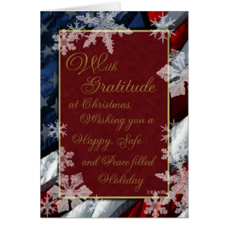 Snowflakes and Stars Red White and Blue Patriotic Greeting Card