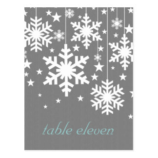 Snowflakes and Stars Table Postcard, Gray
