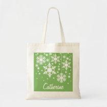 Snowflakes and Stars Tote Bag, Green