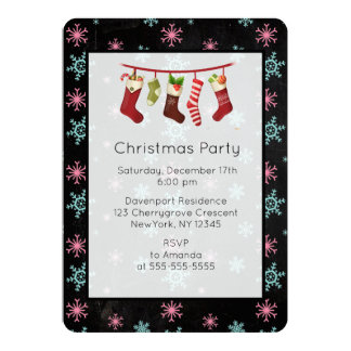 Snowflakes And Stockings Christmas Party Invite