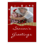 Snowflakes and Stripes Holiday Photo Greeting Card