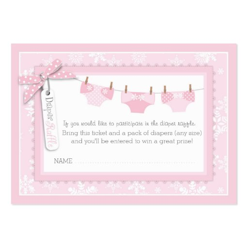 Snowflakes and Tutu Diaper Raffle Ticket Business Card Template