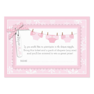 Snowflakes and Tutu Diaper Raffle Ticket Large Business Cards (Pack Of 100)