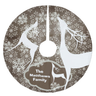 Snowflakes and White Deer Holiday Tree Skirt