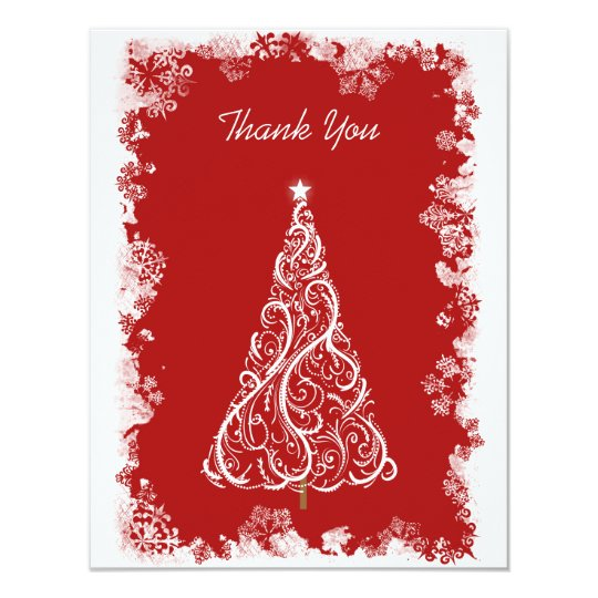 Snowflakes and White Holiday Tree Thank You Card