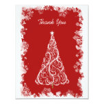 Snowflakes and White Holiday Tree Thank You Card Invite