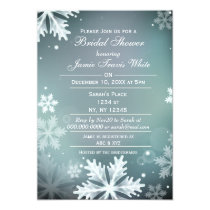 Snowflakes Aqua Winter Bridal shower invite