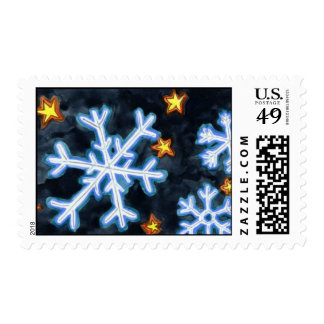 Snowflakes at night stamps