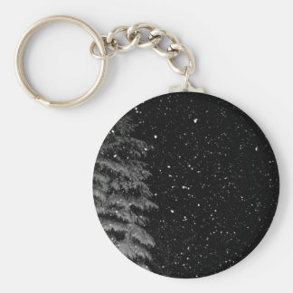 snowflakes at night  unique photograph keychain