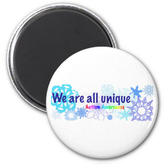 snowflakes_autism 2 inch round magnet