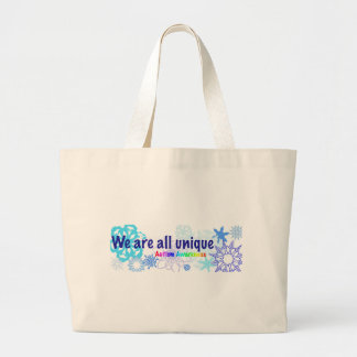 snowflakes_autism large tote bag