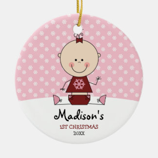 Snowflakes Baby Girl 1st Christmas Personalized Double-Sided Ceramic Round Christmas Ornament