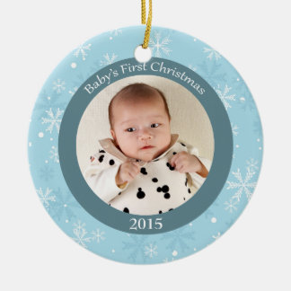 Snowflakes baby s first Christmas photo ornament