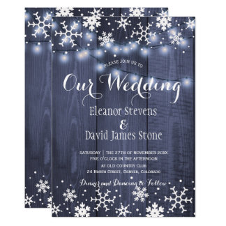Snowflakes barn blue wood winter rustic wedding card