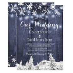 Snowflakes Barn Wood Winter Wonderland Wedding Invitation at Zazzle