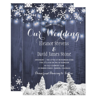 Snowflakes barn wood winter wonderland wedding invitation