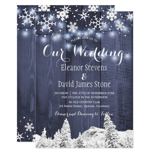 Snowflakes Barn Wood Winter Wonderland Wedding Invitation Zazzle Com