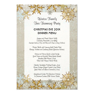 Snowflakes Beach Sand Coastal Christmas Menu Card
