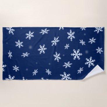 Beach Themed Snowflakes Beach Towel