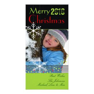 Snowflakes ~ black and white christmas, green trim card