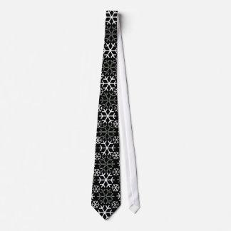 Snowflakes Black and White Tie