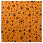 Snowflakes – Black on Amber Napkin